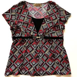 *3/$45* Red & Black Notations Stretch Blouse